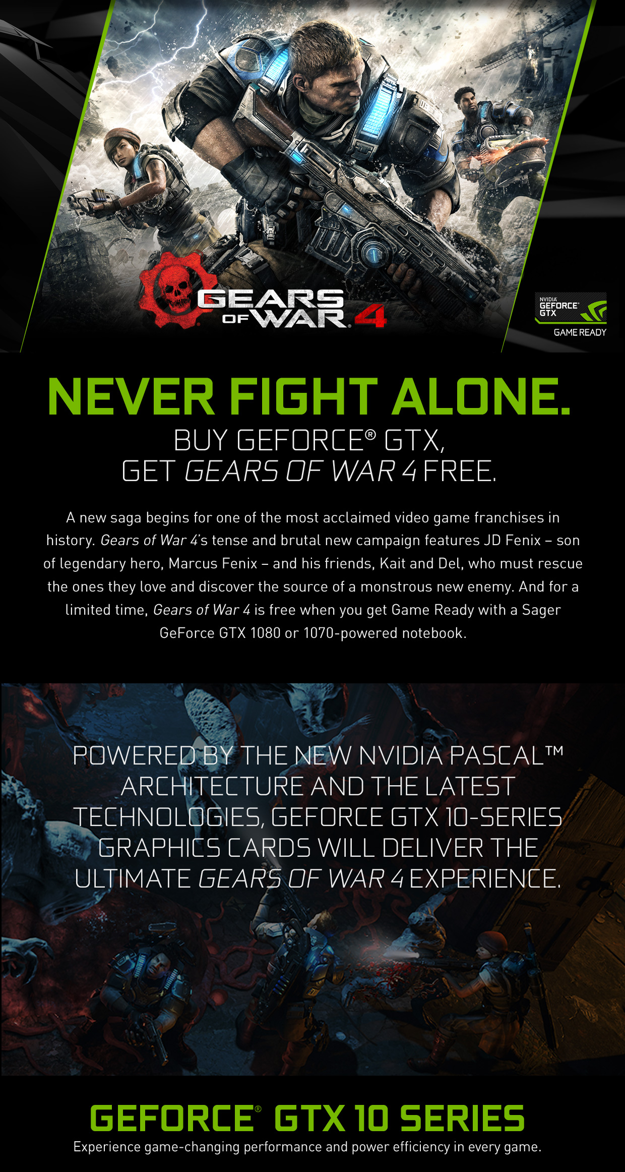 Buy GeForce GTX 1080 or 1070 Powered Sager Notebook, Get Gear Of War 4 Free!